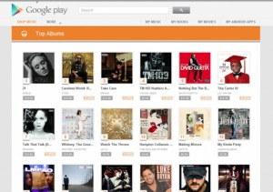 Homepage for Google Play Music store